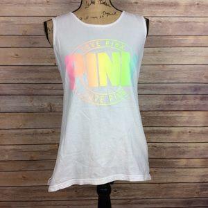 Pink V.S XS White Tank Top pastel rainbow logo